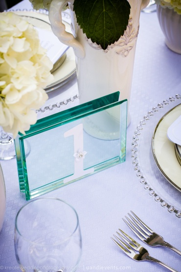 glass table number - all white wedding