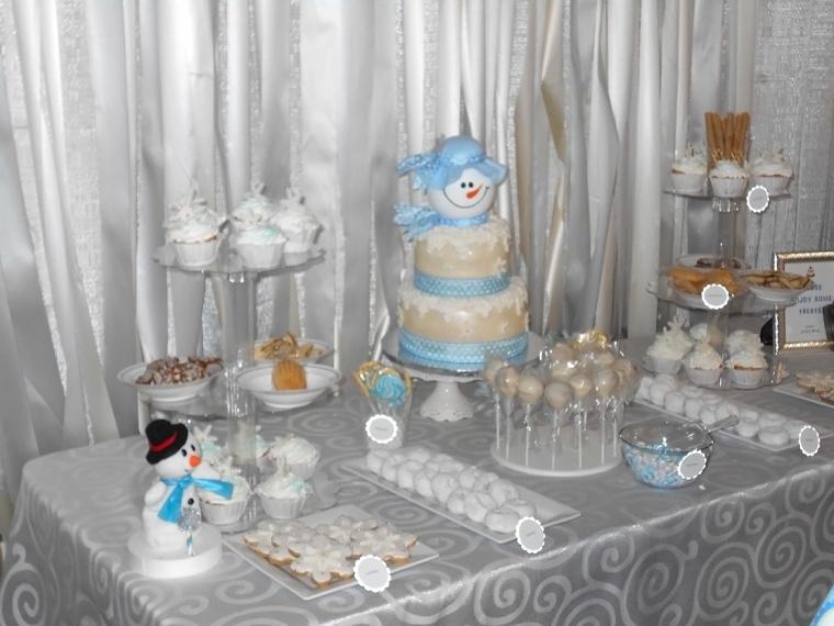 winter wonderland birthday dessert bar