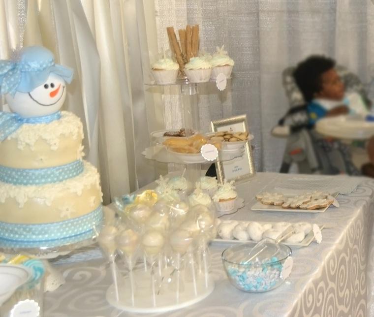 winter wonderland birthday dessert table