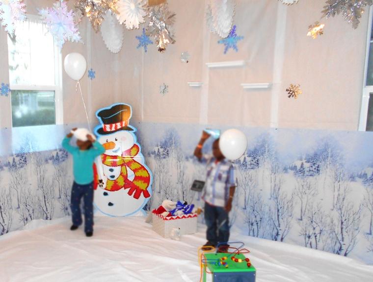 winter wonderland birthday party snow scene