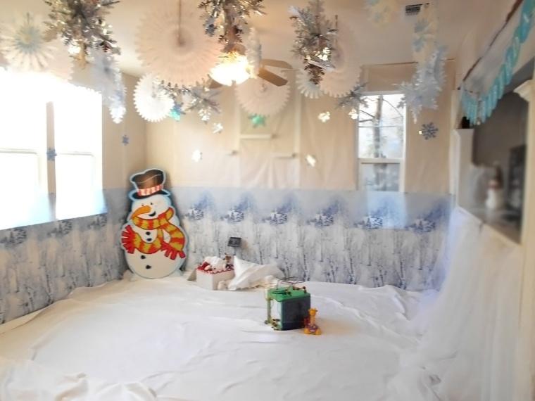 winter wonderland party snow scene