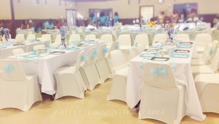 blue brown baby shower decor