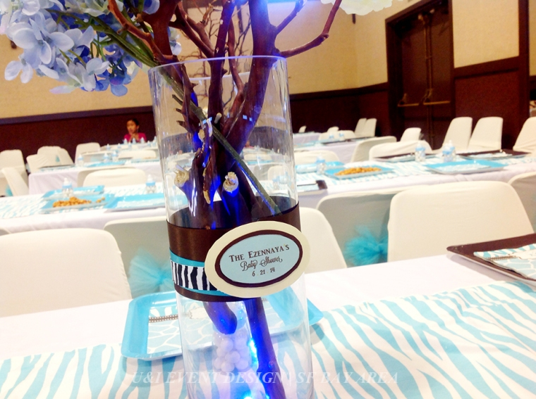 blue brown boy baby shower centerpiece decor