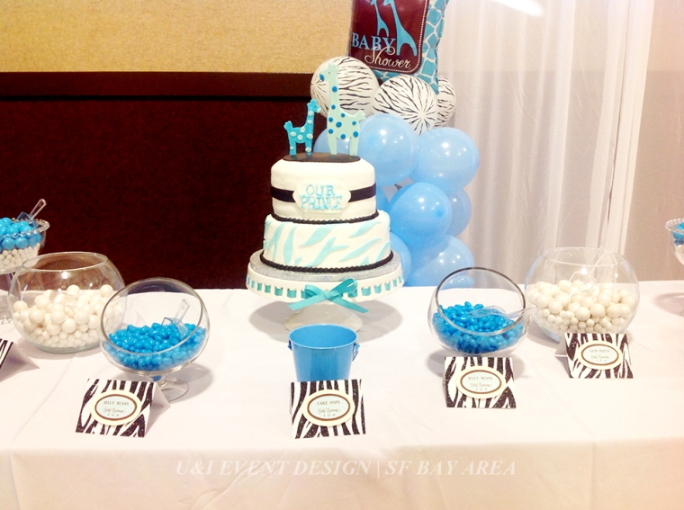 blue brown safari baby shower cake dessert table