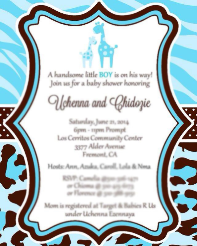 blue brown safari baby shower invitation