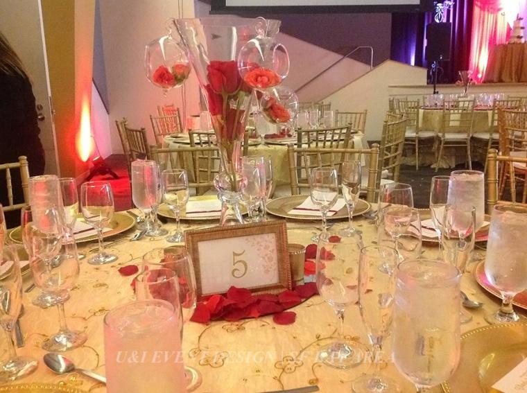 red gold wedding centerpiece_malavalli hall_milpitas wedding venue