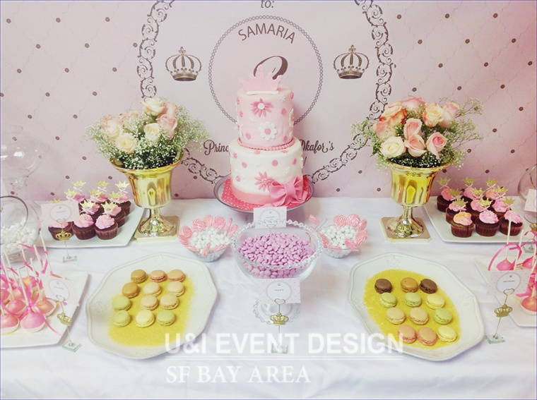 baby pink princess royal birthday cake_dessert table