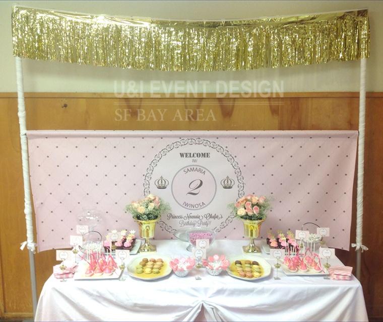 gold tassels baby pink kids birthday dessert table banner backdrop