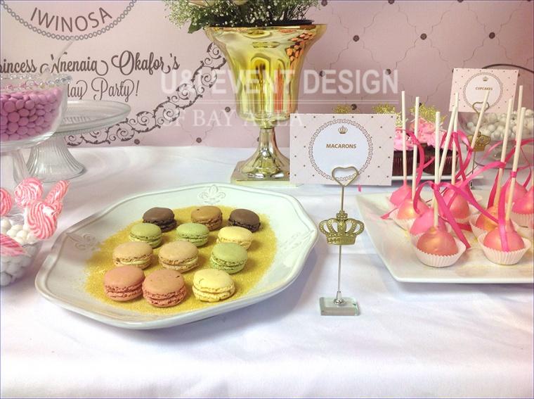 pink dessert table sign macarons cakepops