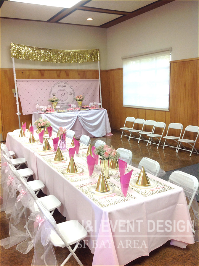 pink gold kids party decorations