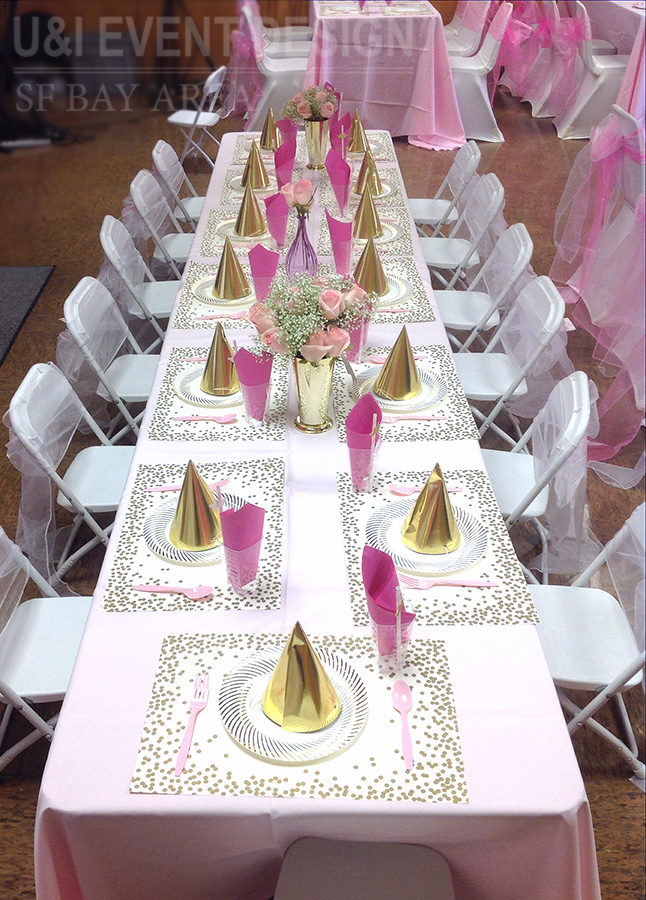 pink gold kids party tablescape