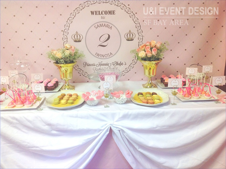 pink gold princess party dessert table backdrop