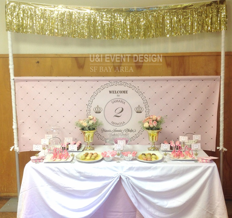 pink gold princess theme dessert table display