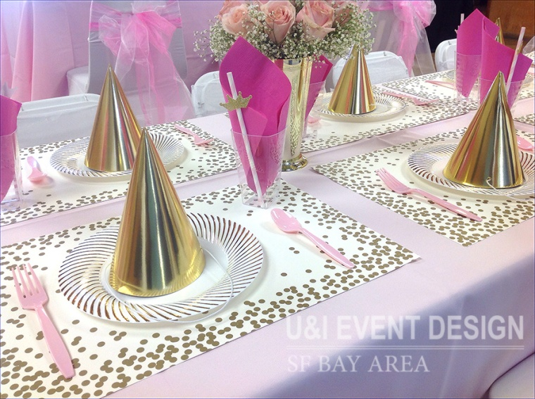 pink gold royal princess theme kids party decor