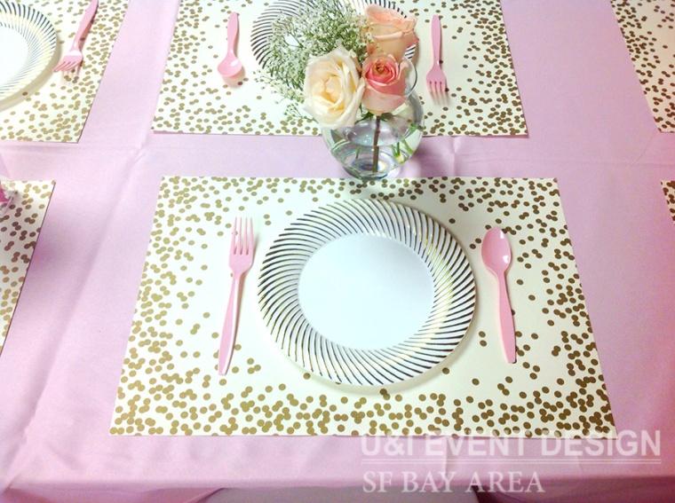 pink princess party kids table floral centerpiece