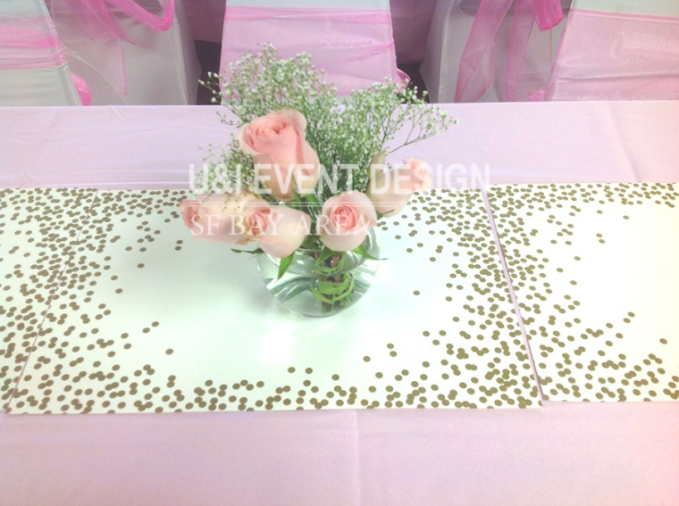 pink rose babys breath centerpiece