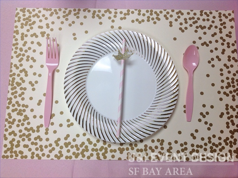 pink white stripe paper straw embellishment