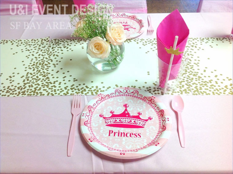 princess kids party plates paper straw centerpiece