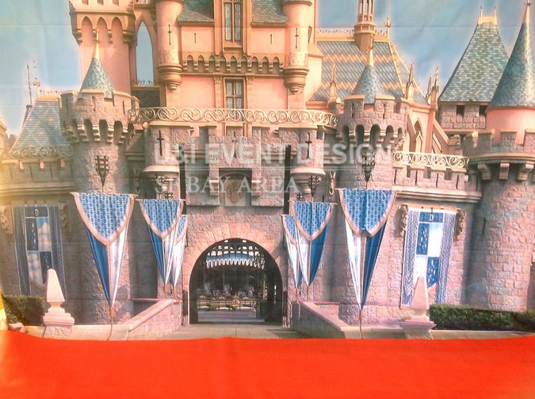 princess theme castle backdrop red carpet