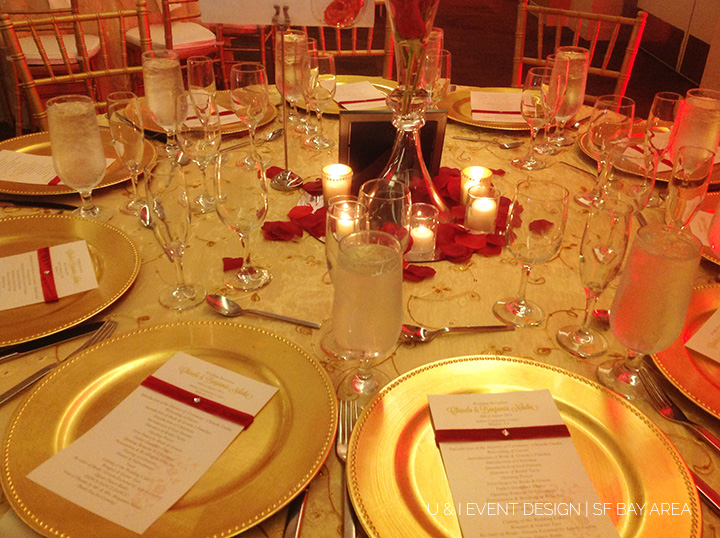 red gold bay area wedding decor
