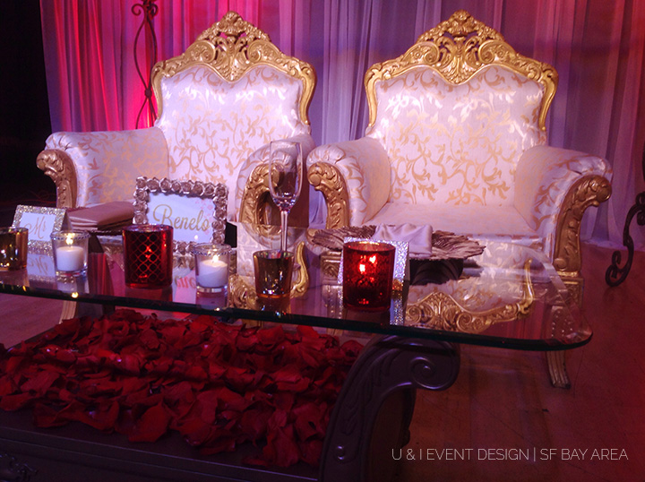 red gold sweetheart table_bay area wedding decorator
