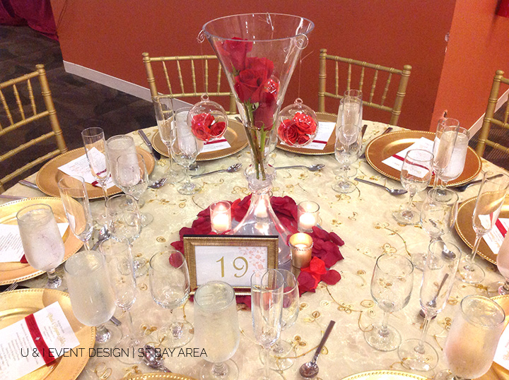 rose stem centerpiece_bay area wedding decor_india community center