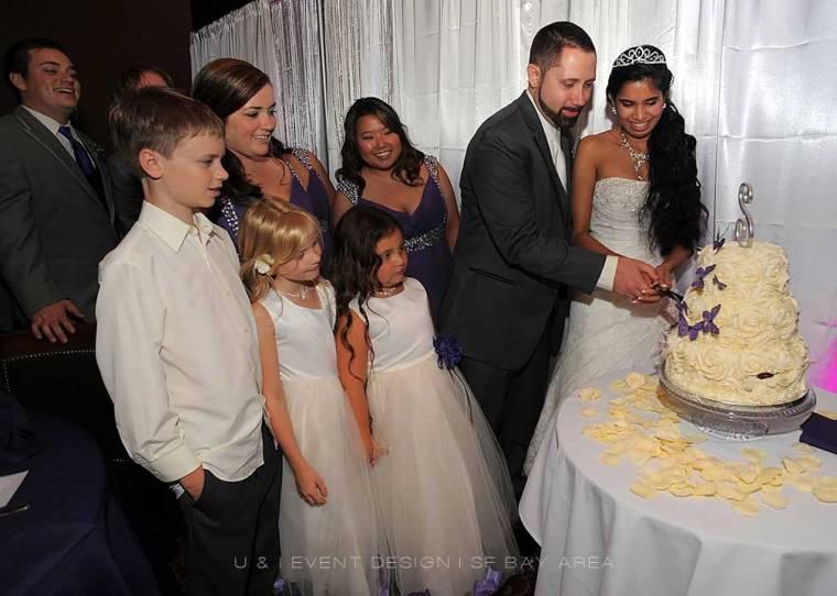 wedding cake cutting at san francisco wedding venue