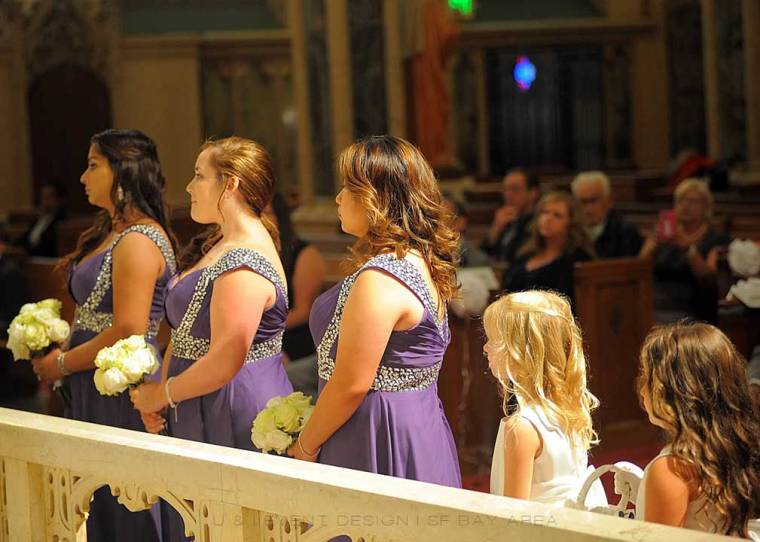 bridesmaids in purple dresses at san francisco bay area wedding