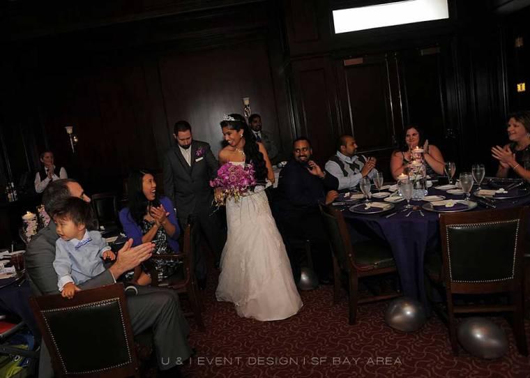 bride and groom entering harris restaurant san francisco reception by bay area wedding planner