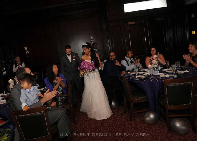 bride and groom entering harris restaurant san francisco reception by bay area wedding planner