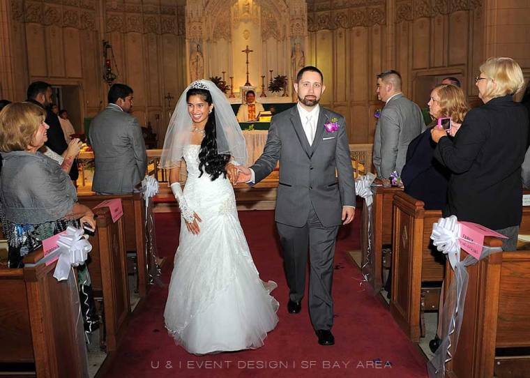 bride and groom walking down aisle after ceremony in san francisco designed by bay area multicultural wedding planner