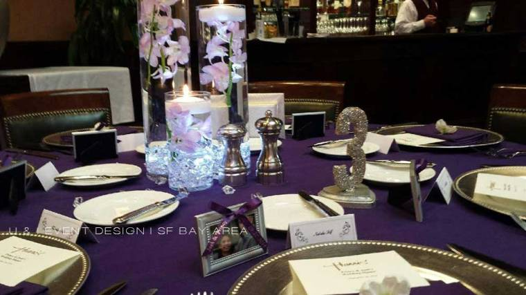 elegant purple and silver wedding reception decor set up by san francisco bay area planner