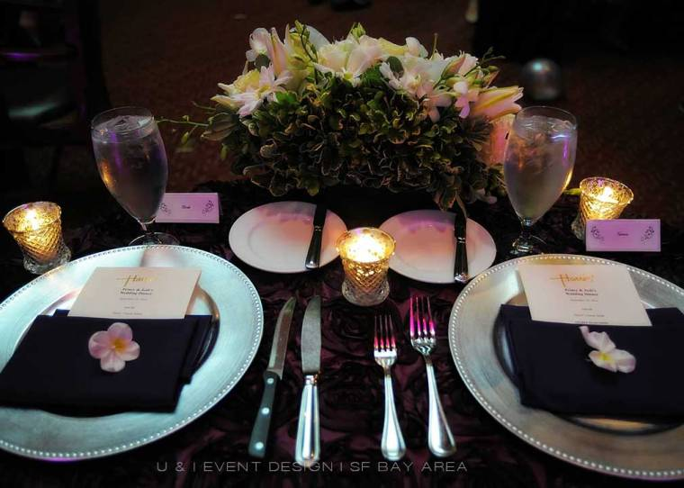 purple and silver reception decor at harris restaurant san francisco designed by bay area wedding planner